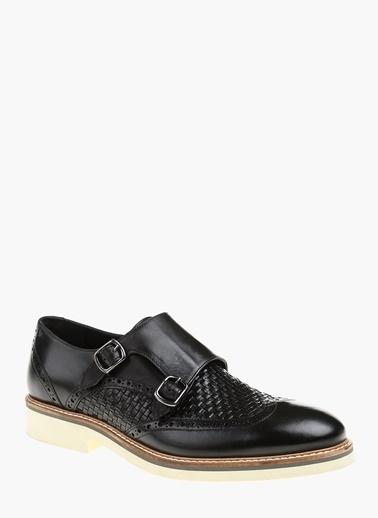 Divarese %100 Deri Çift Tokalı Klasik Ayakkabı Siyah